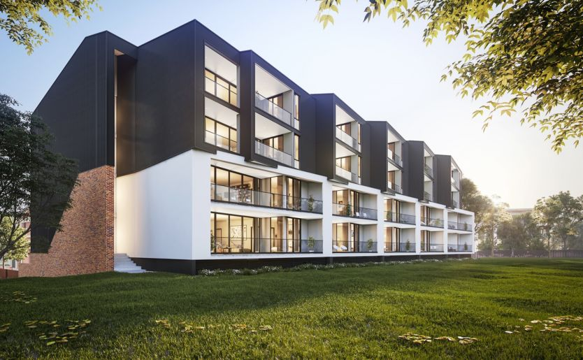Exterior architectural render of M/27 Apartments by Match in Fremantle