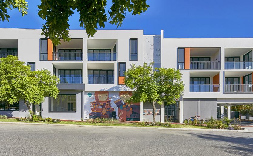 Side profile of M/25 Apartments by Match from Burt Street with art mural done by Kyle Hughes Odgers