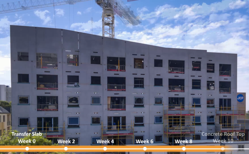 Construction progress snapshot of Quest Apartment Hotel in Joondalup over a 10 week timelapse