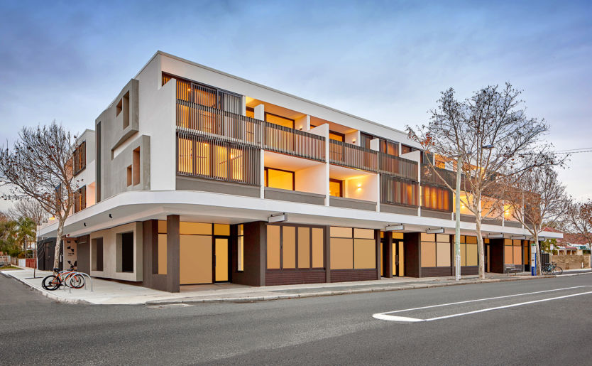 External shot of M/28 Apartments by Match located in the heart of South Terrace in South Fremantle where the external facade continued the natural theme which incorporate timber screens