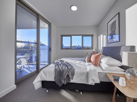 M26 Apartment Bedroom looking out to city views